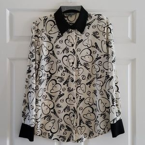 Paris Picasso Print Blouse With Eifell Tower